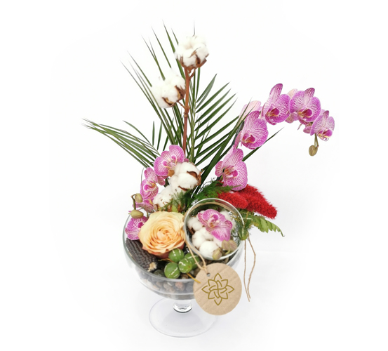 Cam vazoda orkide tasarımı